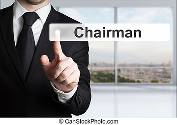 businessman pushing flat button chairman