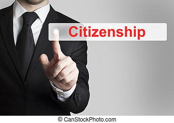 businessman pushing flat button citizenship - businessman in...