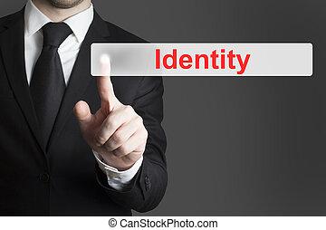 businessman pushing flat button identity