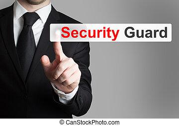 businessman pushing flat button security guard