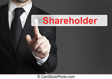 businessman pushing flat button shareholder - businessman in...