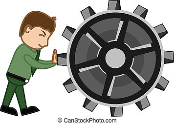 Businessman Pushing Gear Wheel
