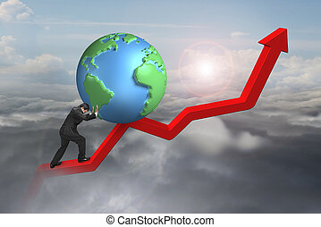 businessman pushing globe upward at starting point of trend...