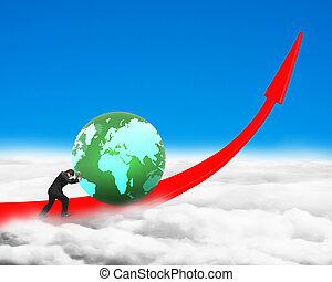 Businessman pushing globe upward on red trend line, on blue...
