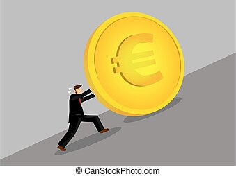 Businessman Pushing Golden Euro Coin Uphill Cartoon Vector Illustration