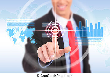 Businessman pushing graph for trade stock market