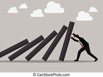 Businessman pushing hard against falling deck of domino ...