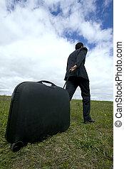 businessman pushing his baggage - business traveller, ...