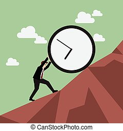 Businessman pushing huge clock uphill