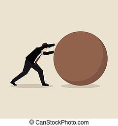 Businessman pushing huge sphere