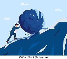 Businessman pushing huge stone