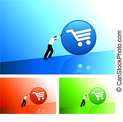 businessman pushing icon uphill - Original Vector...