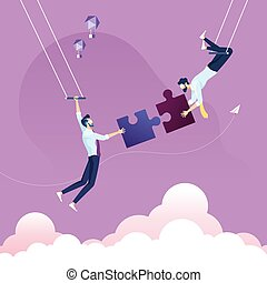 Businessman pushing jigsaw puzzle to complete it-Business teamwork concept