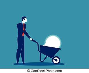 Businessman pushing light bulb with wheelbarrow. Concept business vector illustration.