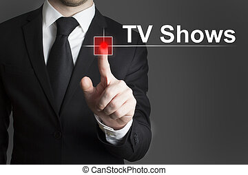 businessman pushing record button tv shows - businessman ...
