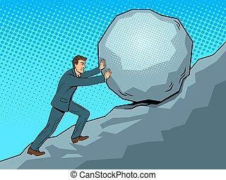 Businessman pushing rock stone uphill pop art retro vector illustration. Hard work metaphor. Color background. Comic book style imitation.