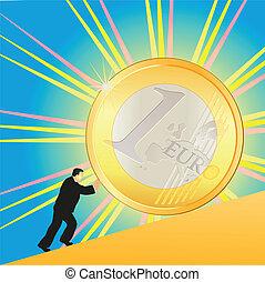 Businessman pushing shining Euro co
