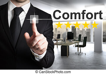 businessman pushing small button comfort five rating stars