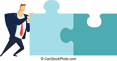Businessman pushing the pieces of puzzles. The concept of joint problem solving. Vector illustration, isolated on white.
