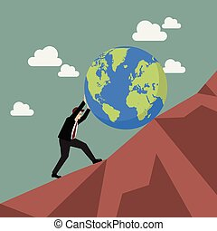 Businessman pushing the world uphill. Vector illustration