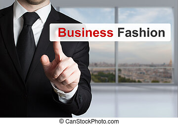 businessman pushing touchscreen button business fashion