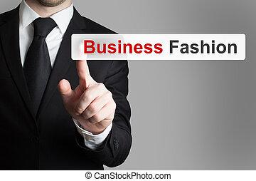 businessman pushing touchscreen button business fashion
