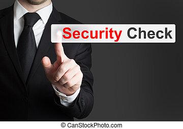 businessman pushing touchscreen security check