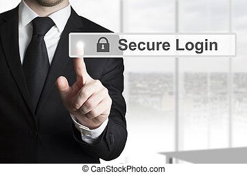 businessman in black suit pushing touchscreen button secure login