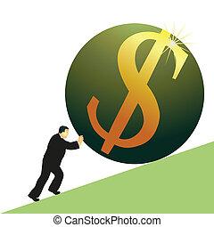 Businessman pushing US Dollar symbo