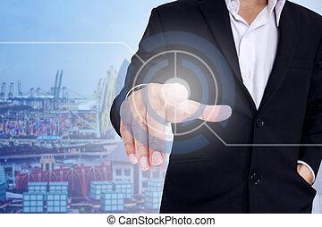 Businessman pushing virtual button