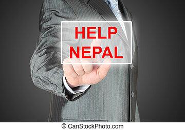 Businessman pushing virtual help Nepal button