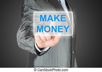 Businessman pushing virtual make money button