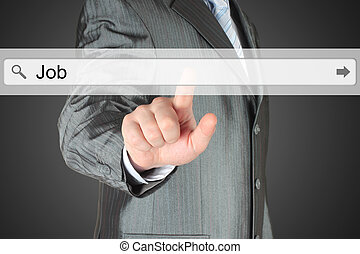 Businessman pushing virtual search bar with job word -...