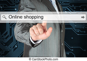 Businessman pushing virtual search bar with online shopping words