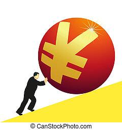 Businessman pushing Yuan symbol