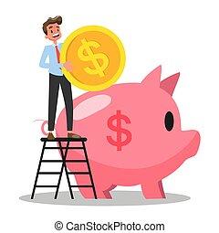Businessman put money inside the piggy bank. Financial...