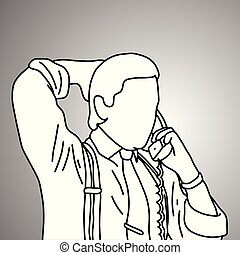 businessman put the hand on his head back while using desk telephone vector illustration doodle sketch hand drawn with black lines isolated on gray background. Business concept.