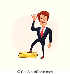 Businessman puts his foot on a bar of gold. A symbol of successful trading in a growing market. Bull market. Vector.