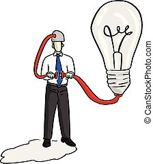 businessman puts plug in the socket connecting idea and his head vector illustration sketch hand drawn with black lines isolated on white background