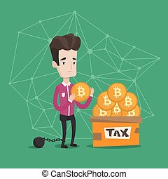 Businessman putting bitcoin coin in box for taxes.
