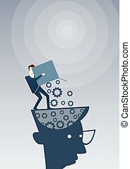 Businessman Putting Cog Wheels In Open Head Thinking Business Ideas Inspiration, Creative Process Concept Brainstorming