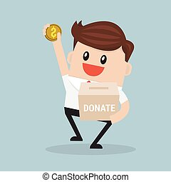 Businessman putting coin in the donation.