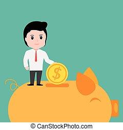 Businessman putting coin into piggy bank, cartoon