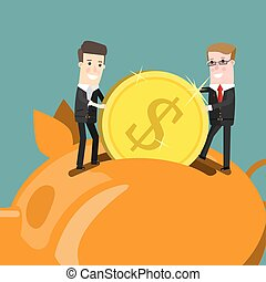 Businessman putting coin into piggy bank. Flat design business concept illustration