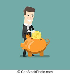 Businessman putting coin into piggy bank. Flat design business concept illustration.