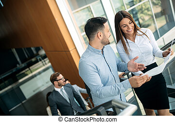 Businessman putting forward his suggestions to colleagues. Startup business team on meeting
