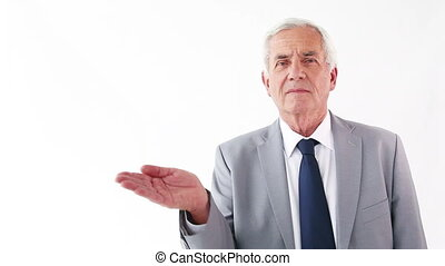 Businessman putting his hand palm up
