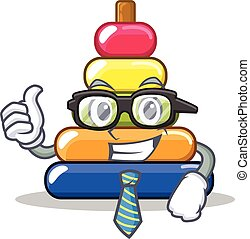 Businessman pyramid ring character cartoon