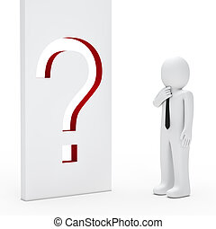 Businessman question mark wall