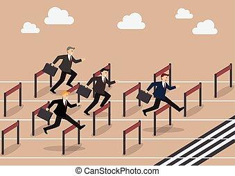 Businessman race hurdle competition. Business concept